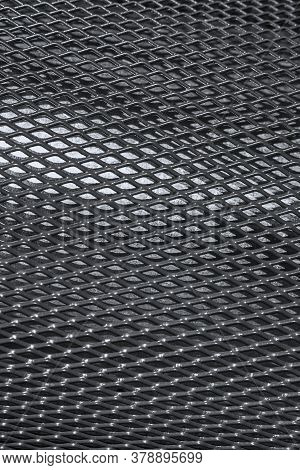 Texture Of Cambered Metal Perforated Netted Sheet With Lighting Effect.grunge Netted Metal Grill Tex