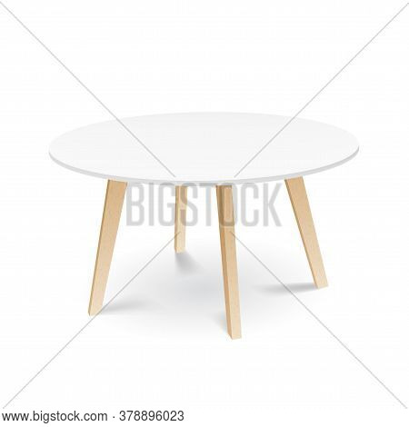 White Wooden Round Dining Table With Wooden Legs