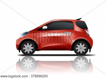 3d Red Realistic Midget Mini Car Whith Shadow