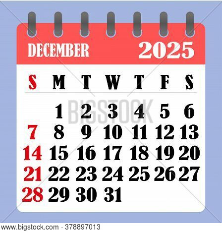 Letter Calendar For December 2025. The Week Begins On Sunday. Time, Planning And Schedule Concept. F