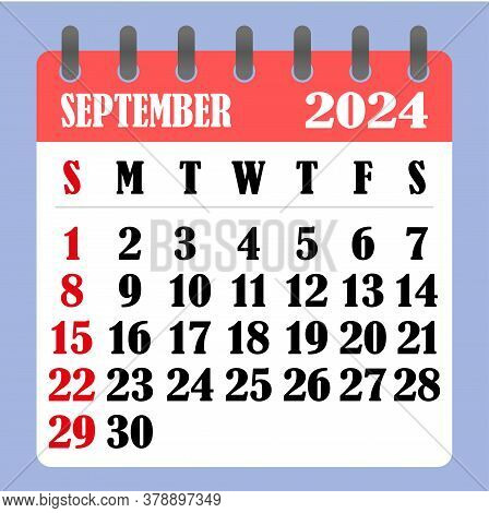 Letter Calendar For September 2024. The Week Begins On Sunday. Time, Planning And Schedule Concept.