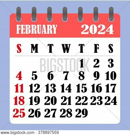 Letter Calendar For February 2024. The Week Begins On Sunday. Time, Planning And Schedule Concept. F