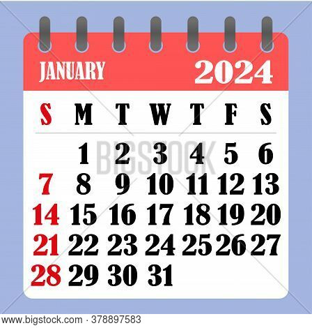 Letter Calendar For January 2024. The Week Begins On Sunday. Time, Planning And Schedule Concept. Fl