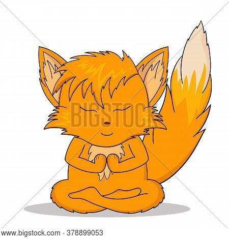 Vector Illustration Of Sticker Orange Chanterelle Meditates. The Fox Meditates.