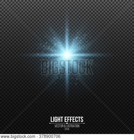 Shining Blue Star With Glitters Isolated On A Dark Transparent Background. Glowing Dust. Glittering