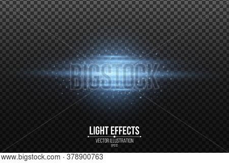 Light Effect Of Blue Abstract Glowing Lines Isolated On A Transparent Dark Background. Scanner Effec