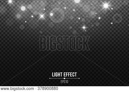 Abstract Falling Lights Bokeh Isolated On A Dark Transparent Background. Shining White Stars And Gla