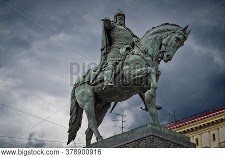 Russia, Moscow - June 12, 2017: Monument To Yuri Dolgoruky. Established In 1954 On Tverskaya Square.