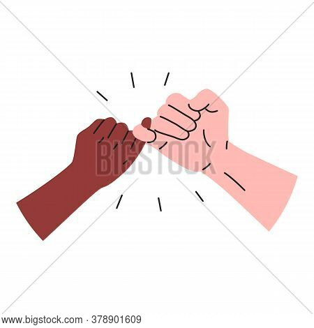 Hooking Little Fingers Icon. Vector Illustration Of Black And White Interracial Hands Holding Little