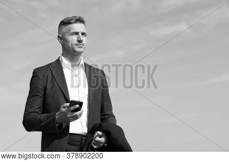 Mobile Communication. Successful And Motivated Business Man. Businessman Well Groomed Hairstyle. Mak