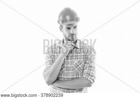 Construction You Can Count On. Construction Worker Isolated On White. Construction Engineer Or Build