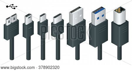 Isometric Black Usb Types Port Plug In Cables Set With Realistic Connectors. Connector And Ports. Us