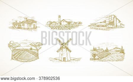 Hand Drawn Landscapes Vector Illustrations Collection Set. Farms, Windmill, Cabins, Barns And Other