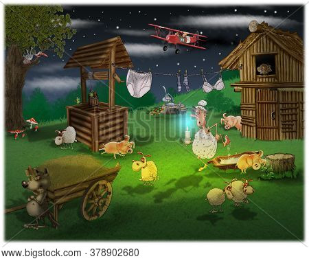 Grandma Protects The Sheep From The Wolf In The Dark. Fabulous Illustration.