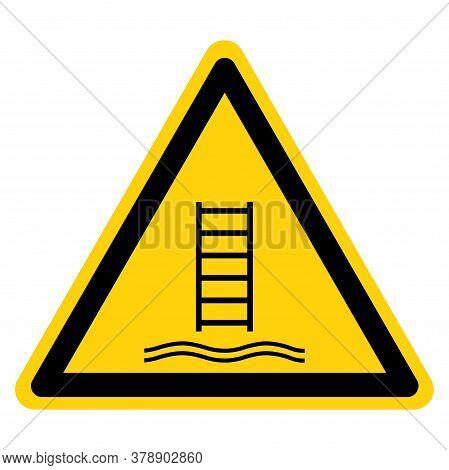 Warning Embarkation Ladder Symbol Sign, Vector Illustration, Isolate On White Background Label .eps1