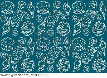 Shell Vector Textile Pattern, Seamless Seashell Textile Repeating Pattern, White Linear Shells On Bl