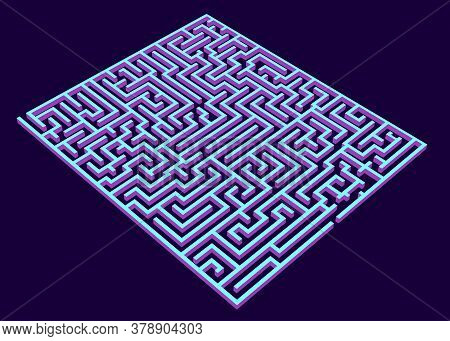 Vector Maze, Labyrinth 3d Rendering Illustration, Isometric Blue Maze,
