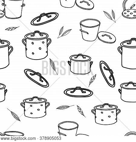 Black Hand Drawing Outline Illustration Of A Group Of Saucepans With Lids And Bay Leaves For Cooking