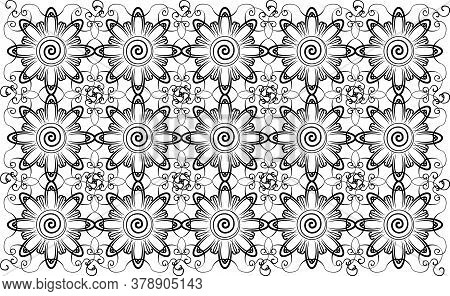 Complicated Floral Black And White Seamless Textile Pattern, Very Good For Branding, Banners, Flyers
