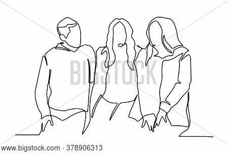 Young Friends Sitting And Talking Together - One Line Drawing. Youth Company Of Happy Friends Sittin