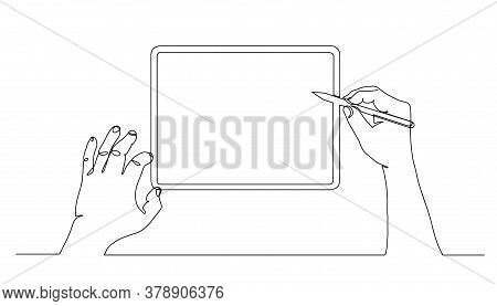 Continuous Line Drawing Of Stylus Writing Pointing At Tablet Screen. First Person View. One Line Tab