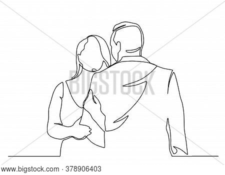 Continuous Line Drawing Of Embrace. Template For Your Design Works. Vector Illustration. Couple In L