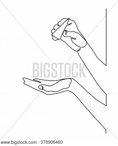 Continuous Line Drawing Of Hand Testing Moisturizing Skin Cream. Hand Holding Tube With Liquid Soap.