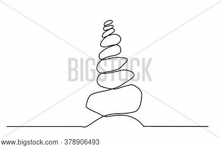 Single Line Drawing Of Isolated Vector Object - Rock Balancing. One Line Drawing Of A Pile Of Flat S