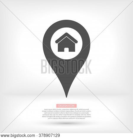 Map Pointer House Vector Icon , Design Map Pointer House Illustration For Web. Flat Style Map Pointe