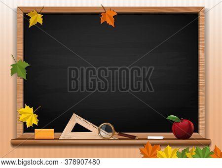 Black Chalkboard Background. Back To School Card Design. Empty Blackboard. Vector Illustration