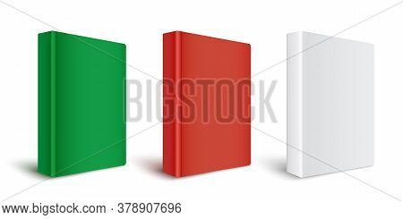 Set Of Templates Of Blank Red, Green And White Hardcover Paper Books.