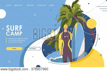 Surf Camp Landing Page Or Banner. Vector Male Character With Surfboard Standing Near Palms And Big W