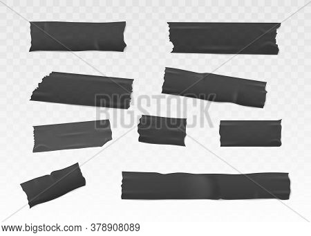 Adhesive Or Insulation Tape Set Torn Pieces Flat Vector 3d Illustration Isolated.