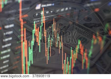 Abstract Glowing Forex Chart Interface Wallpaper. Investment, Trade, Stock, Finance And Analysis Con