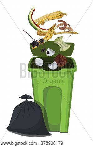 Vector Illustration Of Organic Trash Drops In The Trash. Garbage Bin.