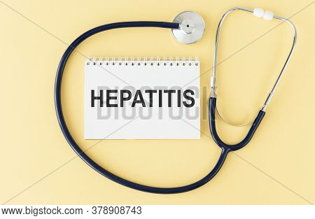 Hepatitis C And Background Of Medicaments Composition, Stethoscope, Mix Therapy Drugs Doctor And Sel