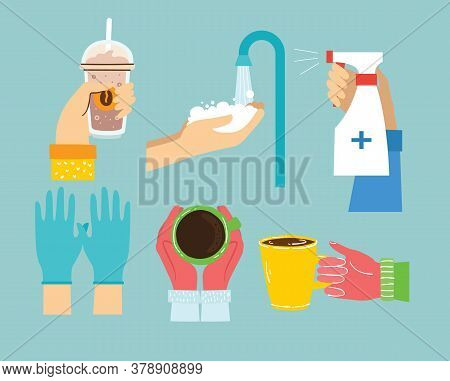 Big Set Of Different Hands Illustrations. Hand Holding Hair Dryer And Shampoo, Washing Hands, Hands