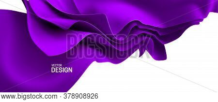 Purple Streaming Fabric. Abstract Background. Vector 3d Illustration. Wavy Layered Textile. Flowing