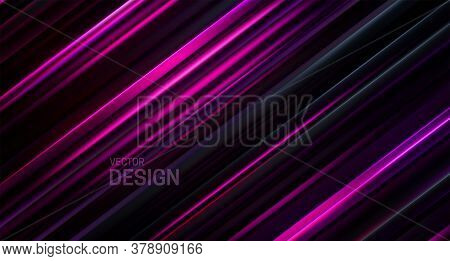Black And Purple Layered Surface. Abstract Geometric Background. Vector Illustration. Random Layers