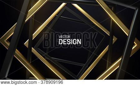 Black And Golden Square Frames. Abstract Background. Vector 3d Illustration. Random Rotated Rectangl