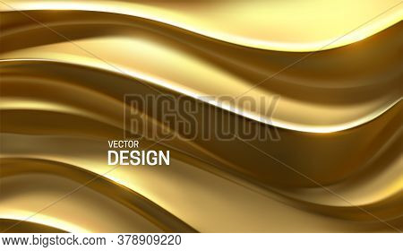 Golden Waves. Curvy Pattern. Vector 3d Illustration. Abstract Luxury Background. Minimalist Geometri