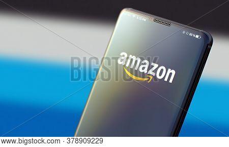 Kyiv, Ukraine-june, 2020: Amazon. Studio Shot Of Smart Phone With Amazon Mobile Application On Blurr