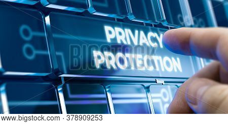 Man Using A Privacy Protection System By Pressing A Button On Futuristic Interface. New Business Con