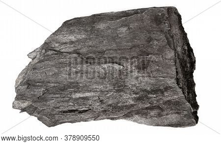 Stone From Limestone And Shale Isolated On White Background. Flat Stone Shale Closeup Top View.