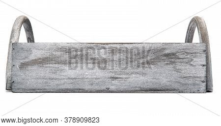 Wooden Farm Box Front View For Vegetables And Fruits Isolated On White Background. Empty Wooden Crat