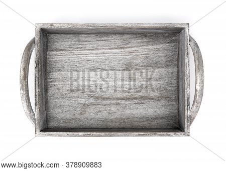 Wooden Farm Box Top View For Vegetables And Fruits Isolated On White Background. Empty Wooden Crate