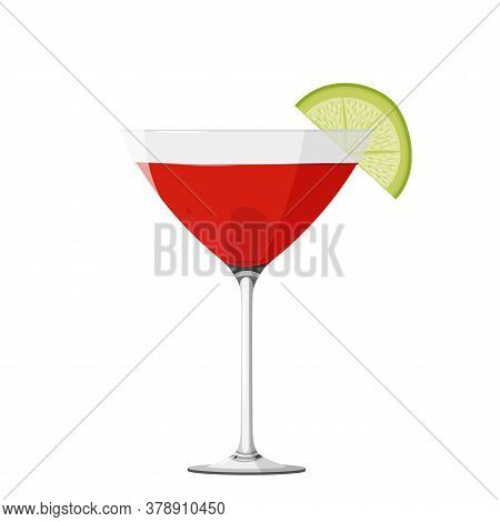 Cosmopolitan Cocktail Realistic Vector Illustration. Isolated On White Background.