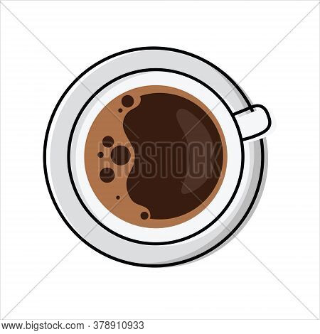 Cup Of Frothy Coffee - Top View. Simplified, Outline Color Filled Vector Illustration Of Americano/e
