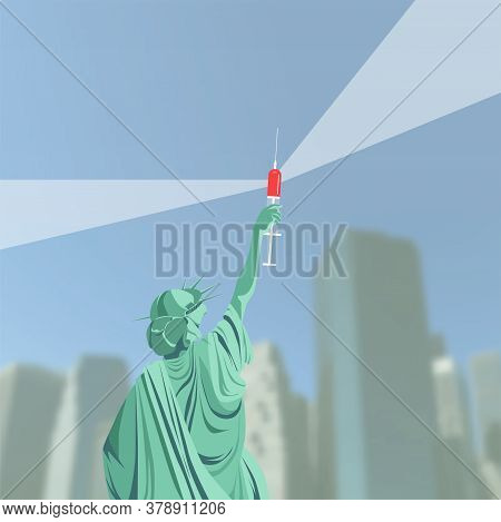 Creation Of A Vaccine Against Coronavirus In The Usa. Victory Over Covid-19. Statue  Holds Vaccine I