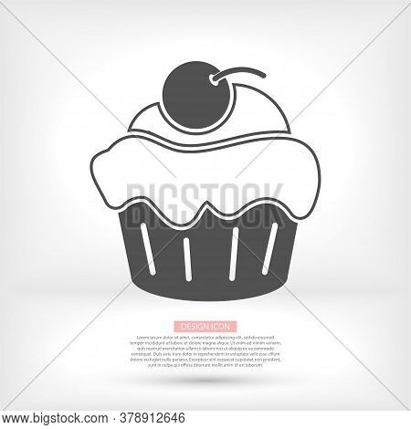 Cupcake Vector Icon. Two-tone Version Of Cupcake Vector Icon On White And Black Background. Vector I
